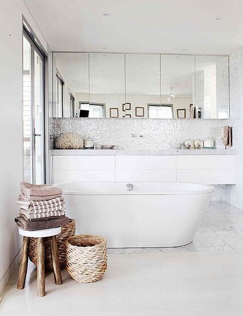Paneled Mirror Tall Backsplash Floating Cabinetry And