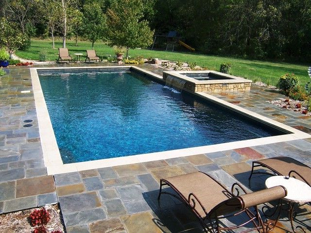 Rectangular Pool With Hot Tub Gallery For Rectangle