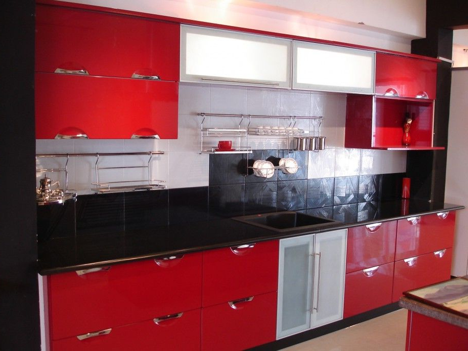 Red And White Caninets Red Black And White Kitchen