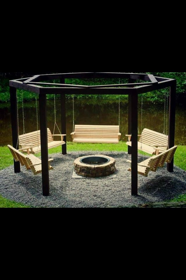 Relaxing Swings Around Fire Pit Great Idea Wed Likely Add