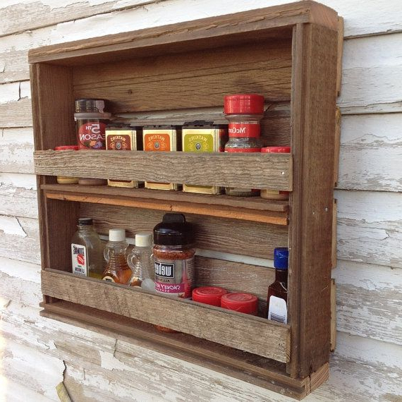Rustic Kitchen Spice Rack Reclaimed Wood Shelf