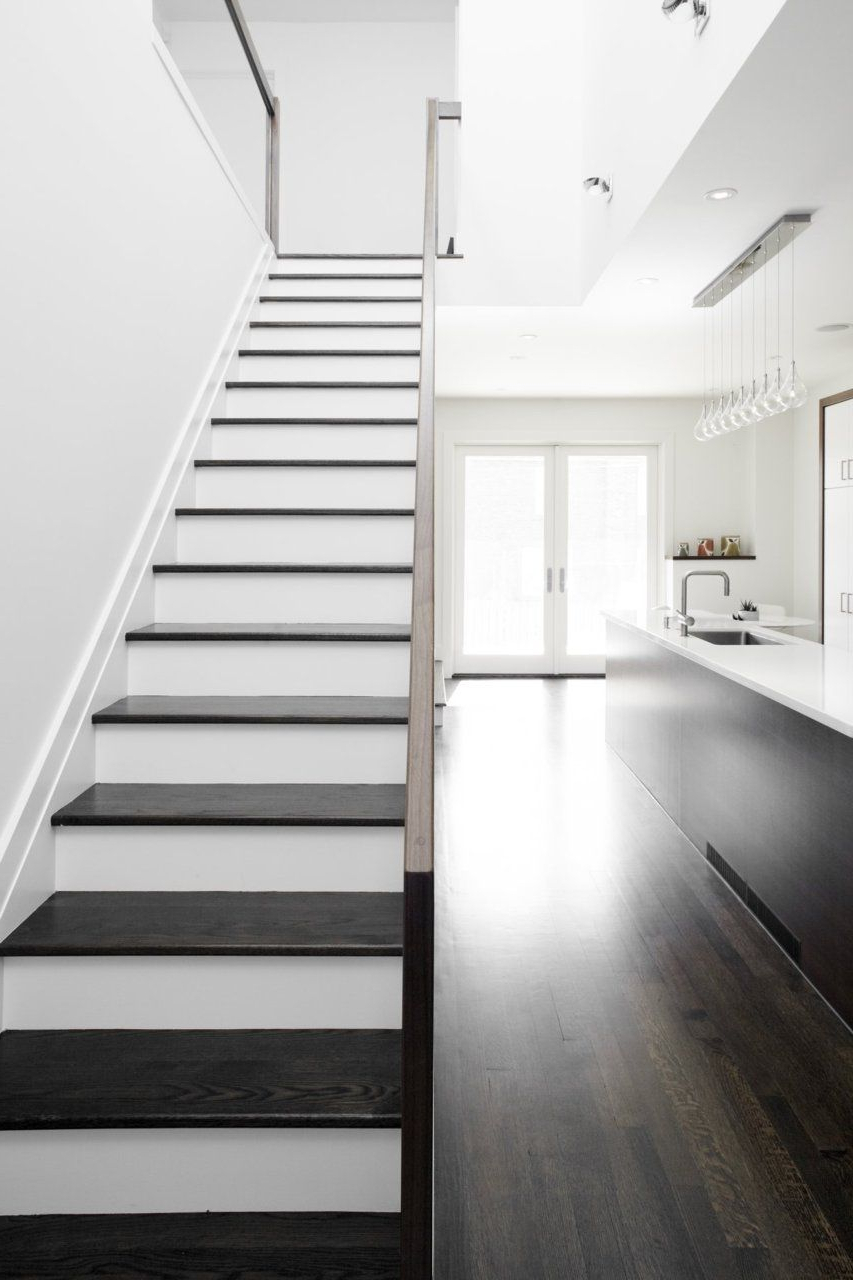 Sleek Black White Contemporary Kitchen Stairway Black