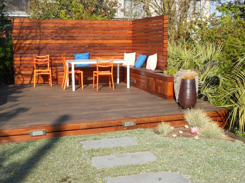 Small Back Yard With Custom Freestanding Deck And Privacy