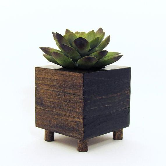 Small Wood Succulent Planter Box Modern Cube Plant Holder