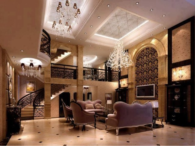 Sofa Furniture With Round Staircase Interior Design At