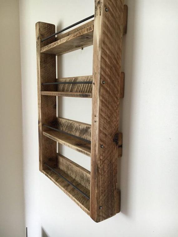 Spice Rack Wood Spice Rack Handmade 4 Shelf Reclaimed