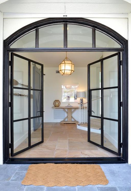Steel And Glass Double Front Doors Transitional Home