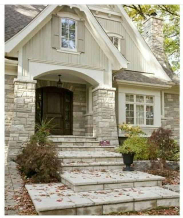 Stone Pillars Make An Amazing Entry Cottage House