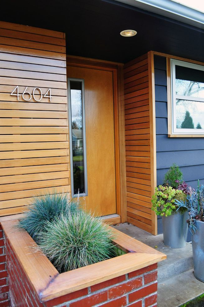 T1 11 Cedar Siding Midcentury Entry And Brick Planter