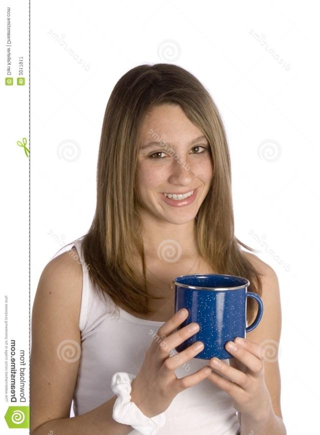 Teen Girl Smiling With Coffee Mug Stock Image Image 2017917