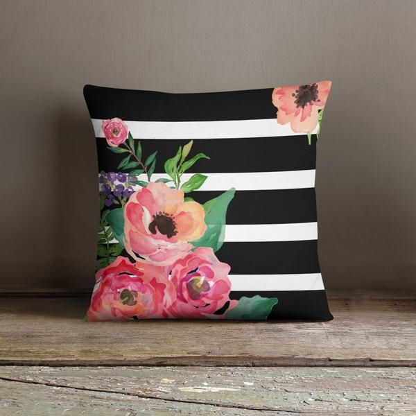 This Beautiful And Elegant Black White Stripes Floral