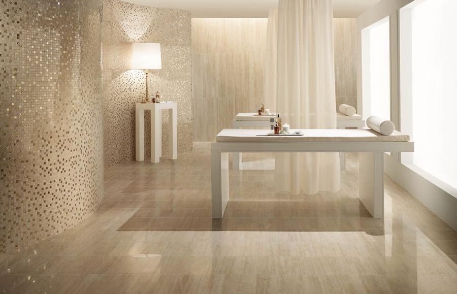 Unique Bathroom Floor Tile Ideas Of White Color