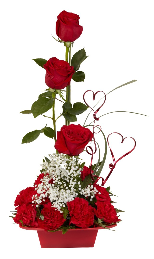 Valentines Floral Centerpiece With Flat Wire Hearts