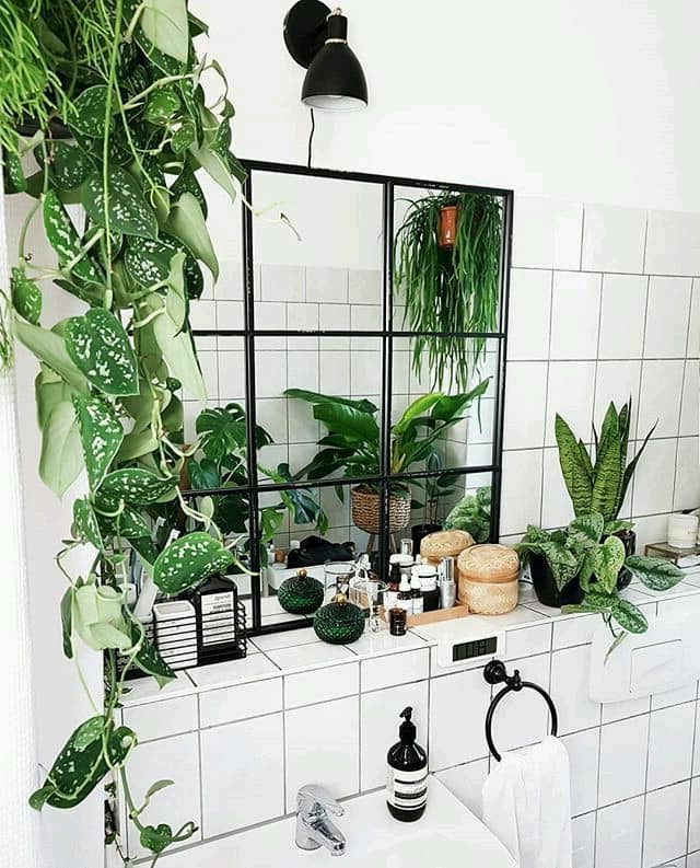 White Bohemian Bathroom Grid Glass Mirror A Lot Of