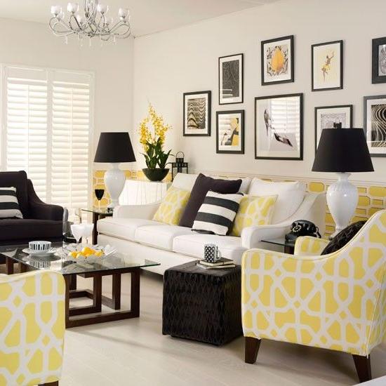 Yellow Monochrome Living Room Grey Yellow Living Room