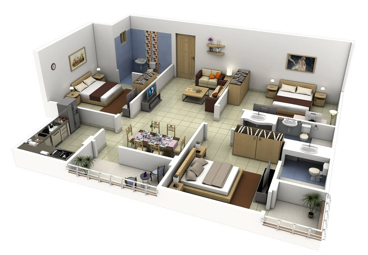 20 Plans for 3 Room Apartments with Modern 3D Designs   3 bedroom flat apartment map