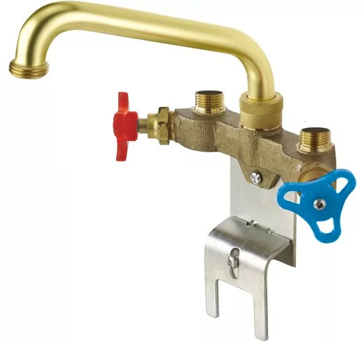 two handle laundry faucet rough brass