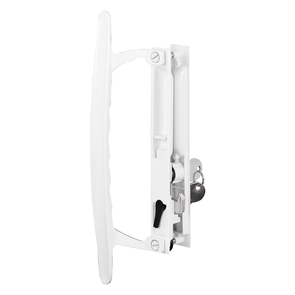 sliding glass door handle set 6 5 8 in diecast hook style flush mount keyed