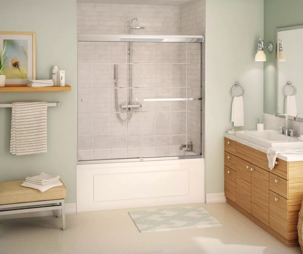 noble 55 59 x 57 po porte de baignoire coulissante semi cadree fini chrome avec porte vitree francaise porte serviettes integre