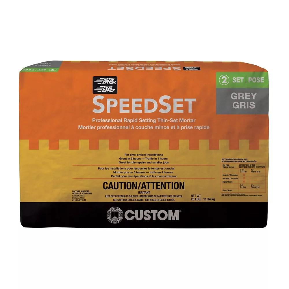 speedset fast setting thin set mortar gray 25 lb