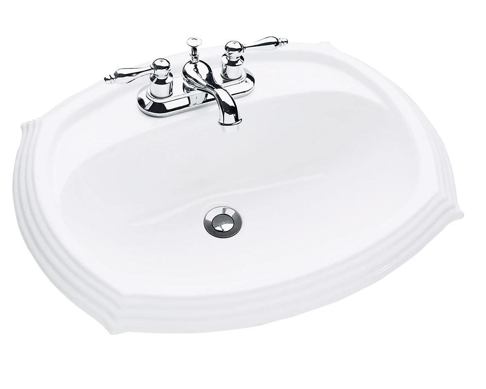 regent oval drop in bathroom sink in white