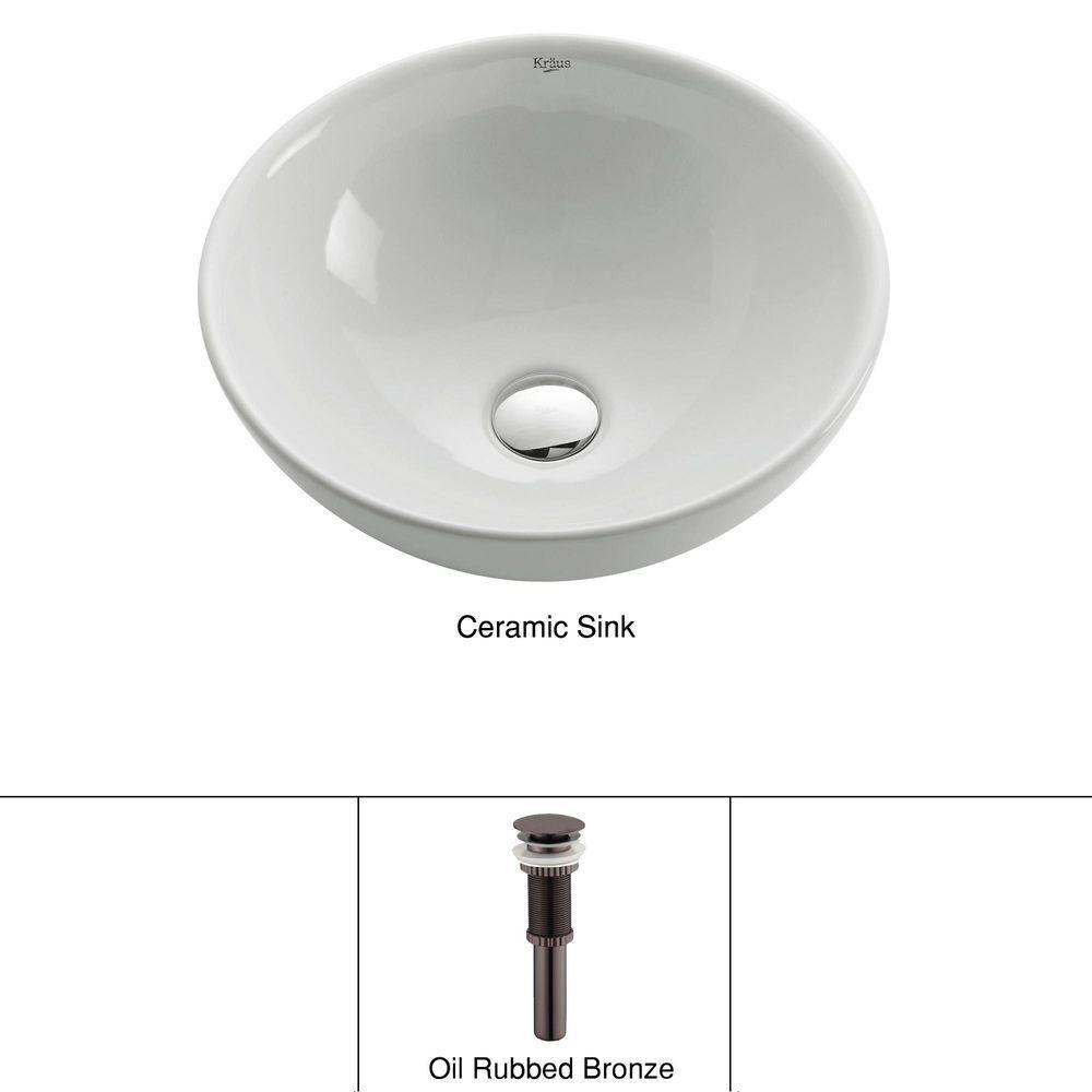 16 inch x 6 24 inch x 16 inch circular ceramic bathroom sink with drain in bronze