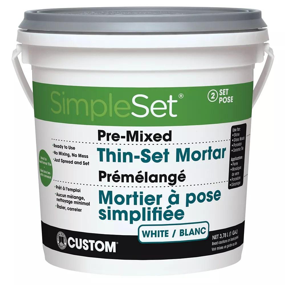 pre mixed tile stone thin set mortar white 3 9l
