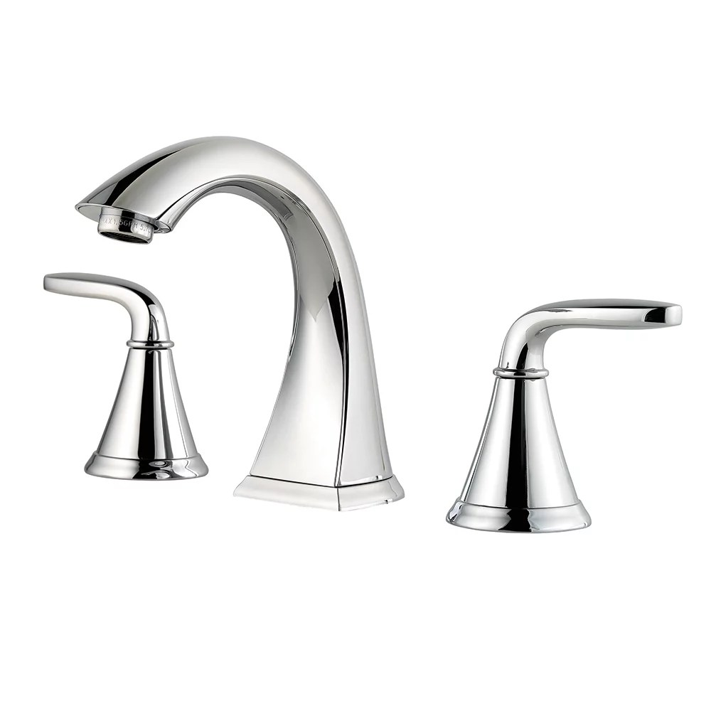 pasadena widespread 8 inch 2 handle mid arc bathroom faucet in chrome with lever handles