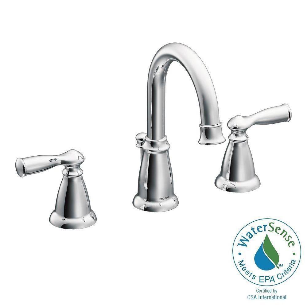 banbury 8 inch widespread 2 handle high arc bathroom faucet in chrome