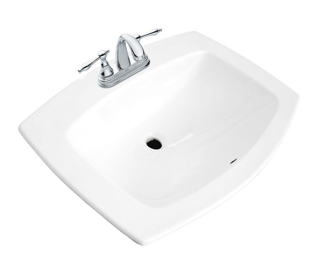 galla rectangular drop in bathroom sink in white