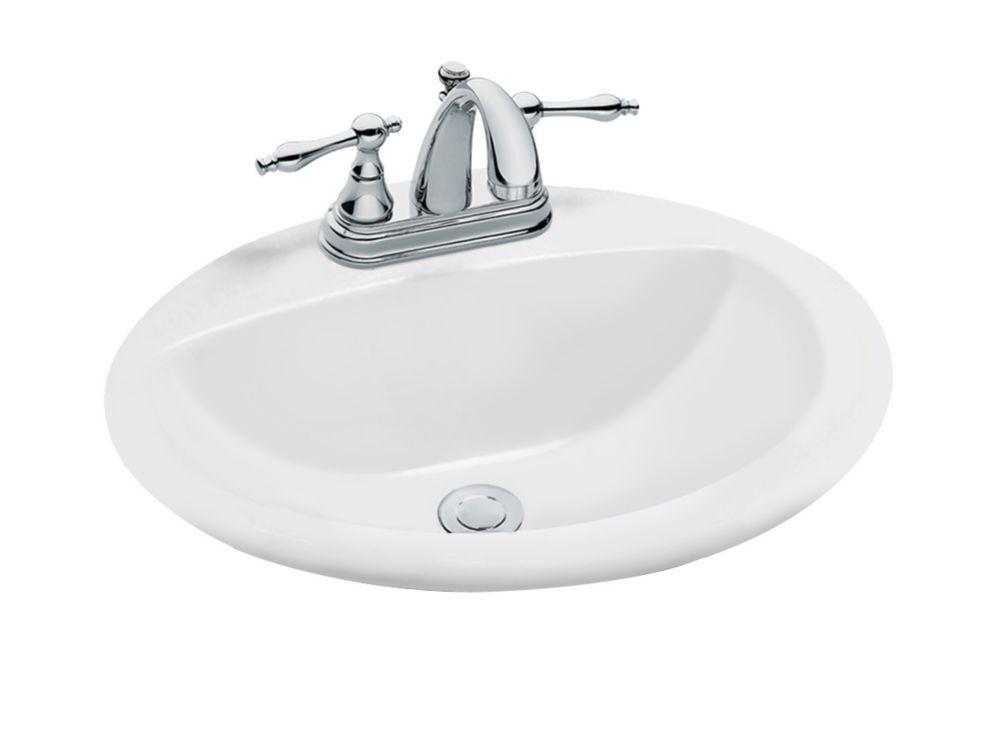 oval drop in bathroom sink in white