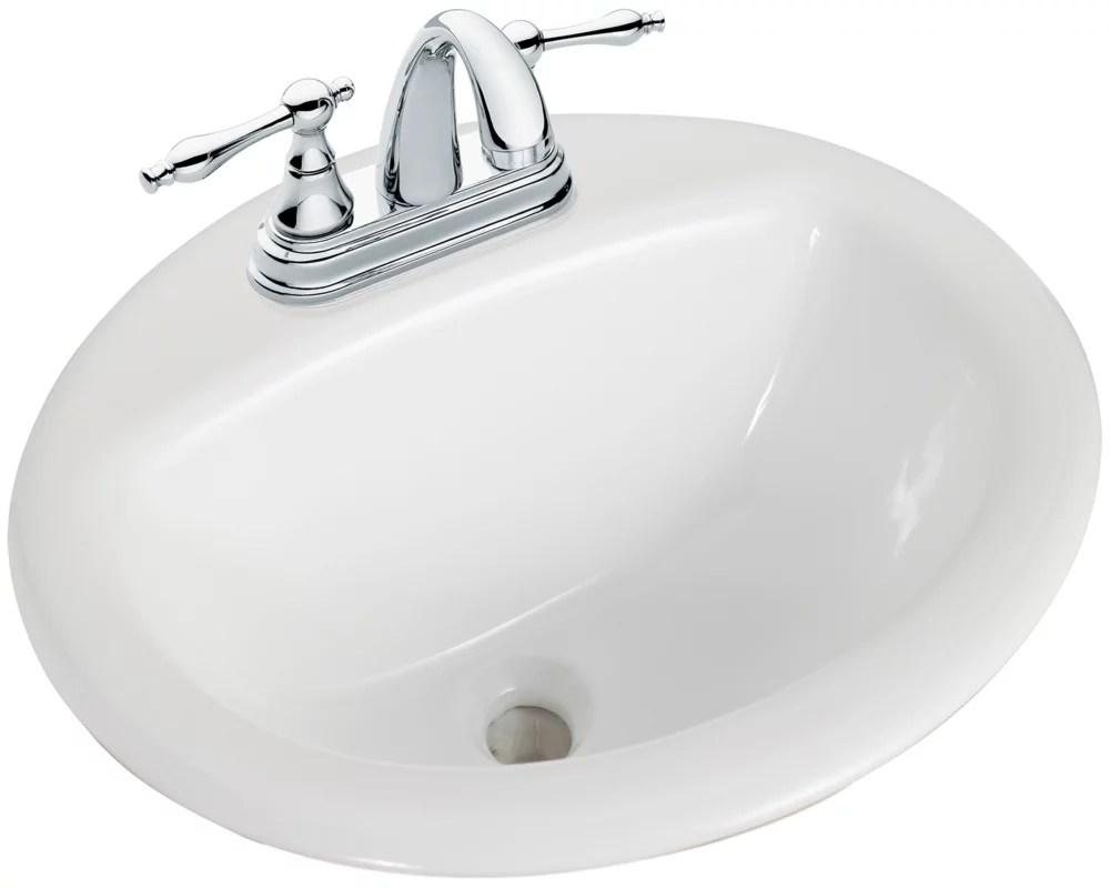 round drop in bathroom sink in white
