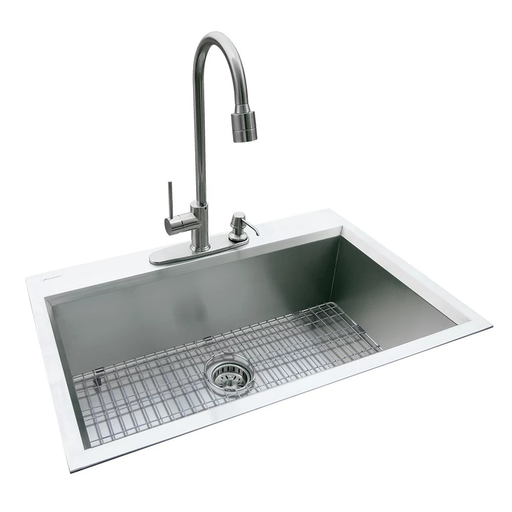 dual mount 31 5 inch x 20 5 inch x 10 inch deep welded single bowl kitchen sink in stainless steel