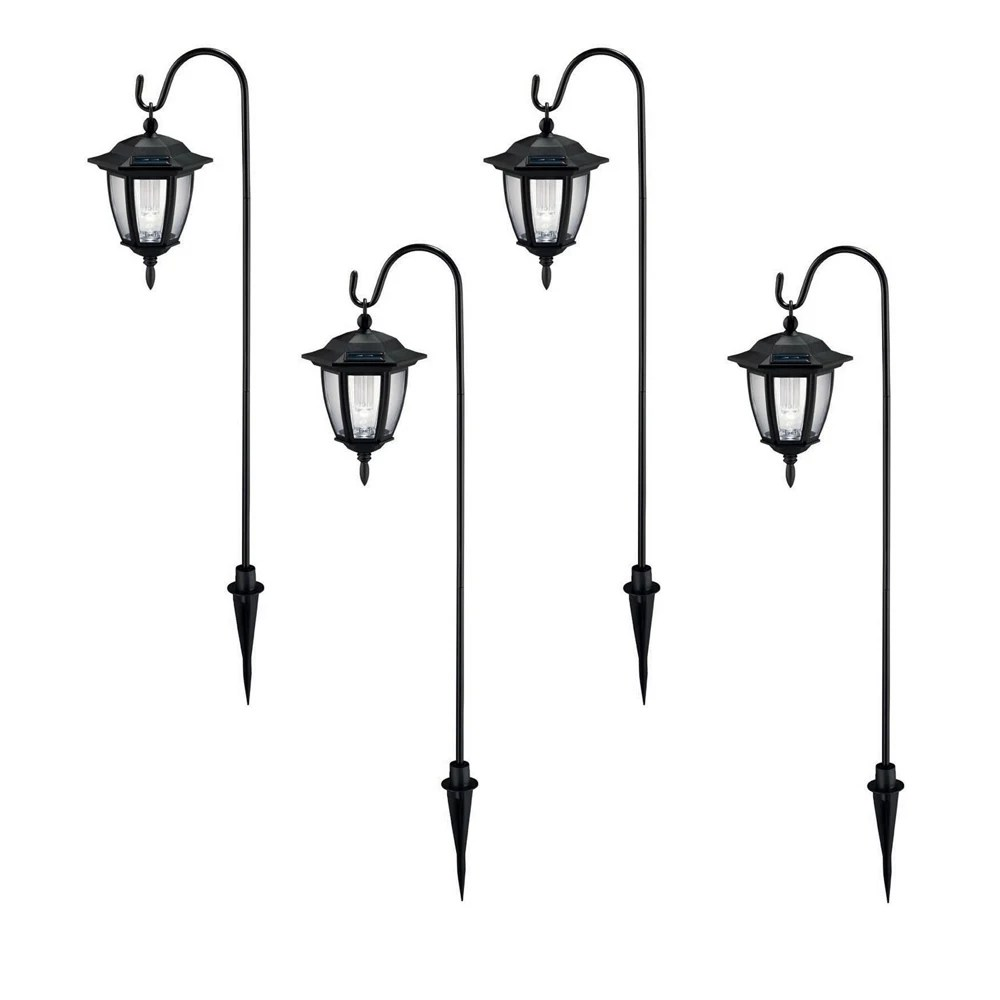 solar black outdoor integrated led shepard hook landscape path light with clear lens 4 pack