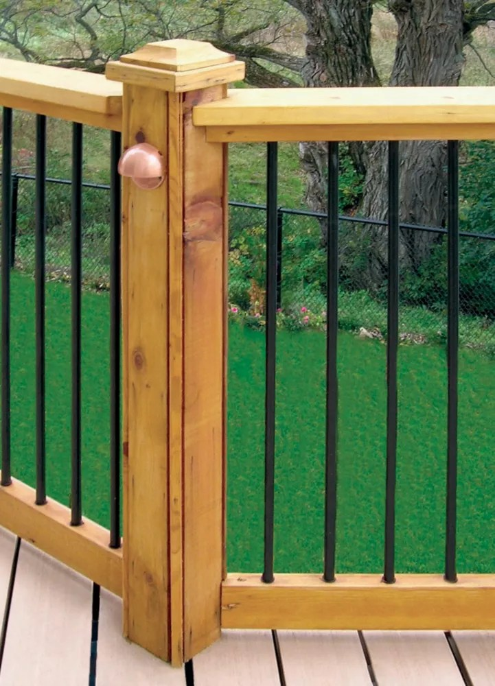 6 ft w aluminum deck rail kit with 34 inch l x 3 4 inch d round balusters in black 15 piece