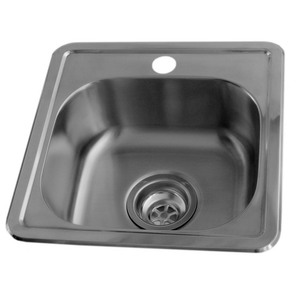 15 x 15 stainless steel bar sink single bowl with single hole faucet drilling