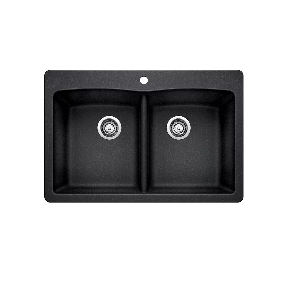 diamond 210 equal double bowl drop in kitchen sink silgranit anthracite