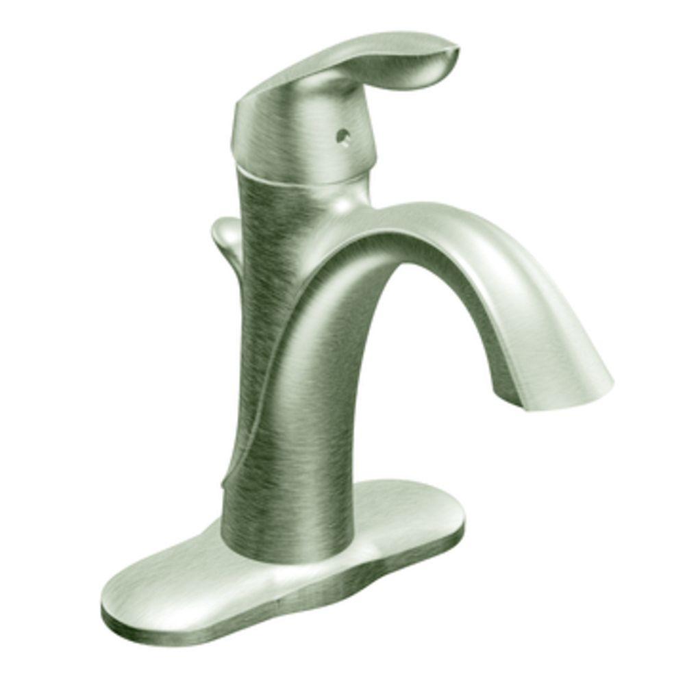 eva single hole single handle high arc bathroom faucet in brushed nickel