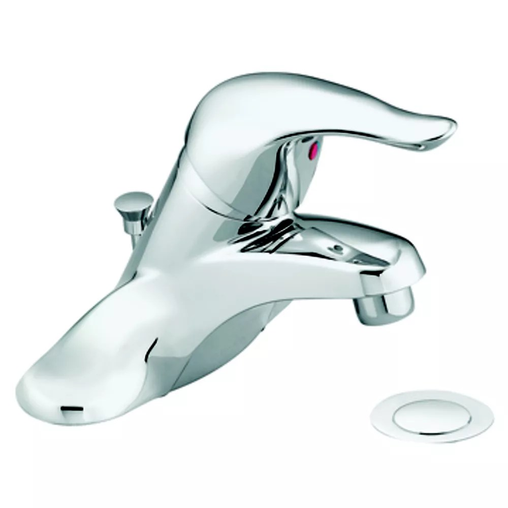 chateau 4 inch centerset single handle low arc bathroom faucet with metal drain assembly red blue under spout in chrome