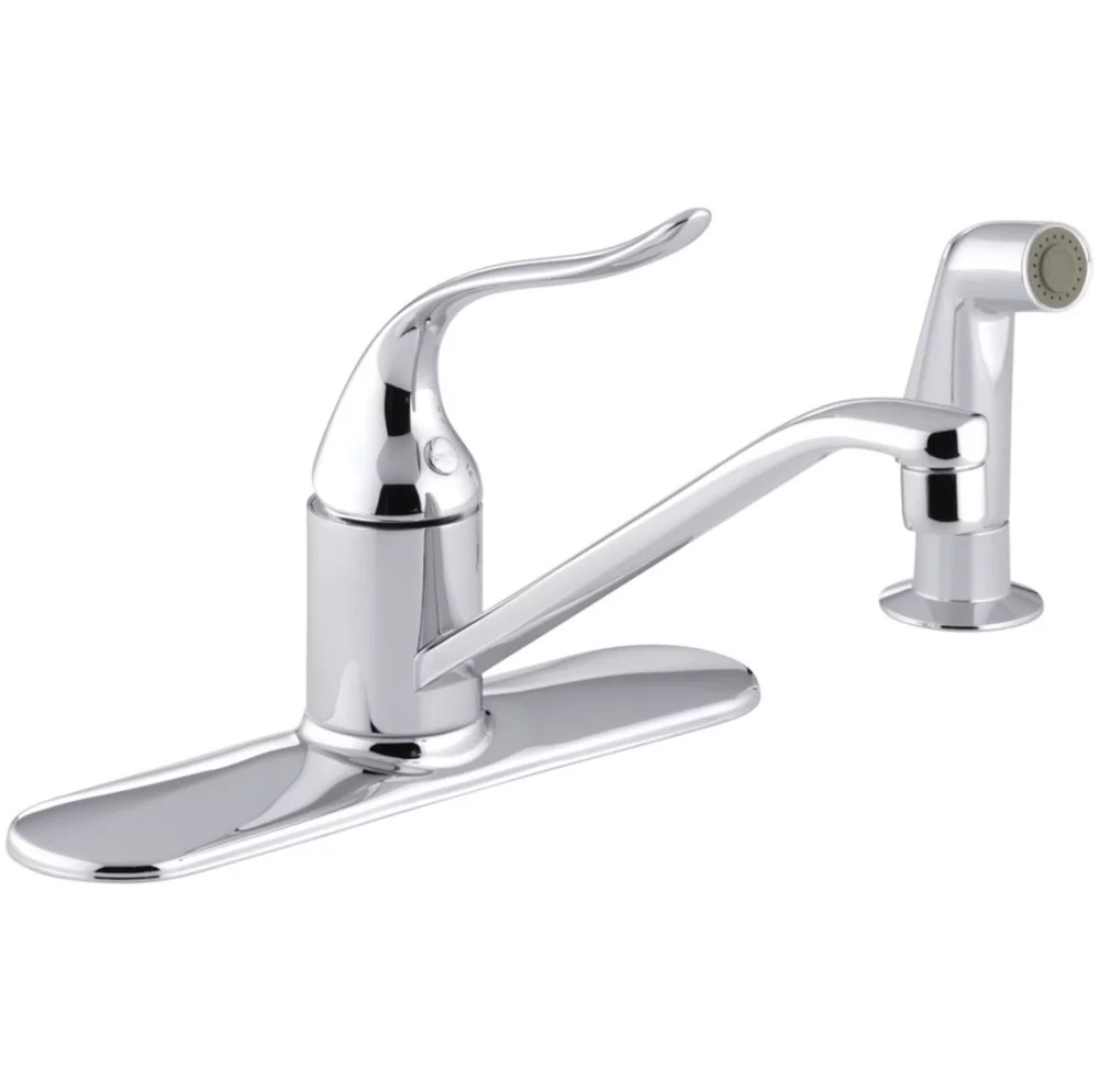 coralais single control 3 hole kitchen sink faucet with matching finish sidespray in polished chrome