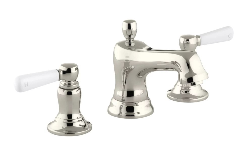 bancroft r widespread bathroom sink faucet with white ceramic lever handles
