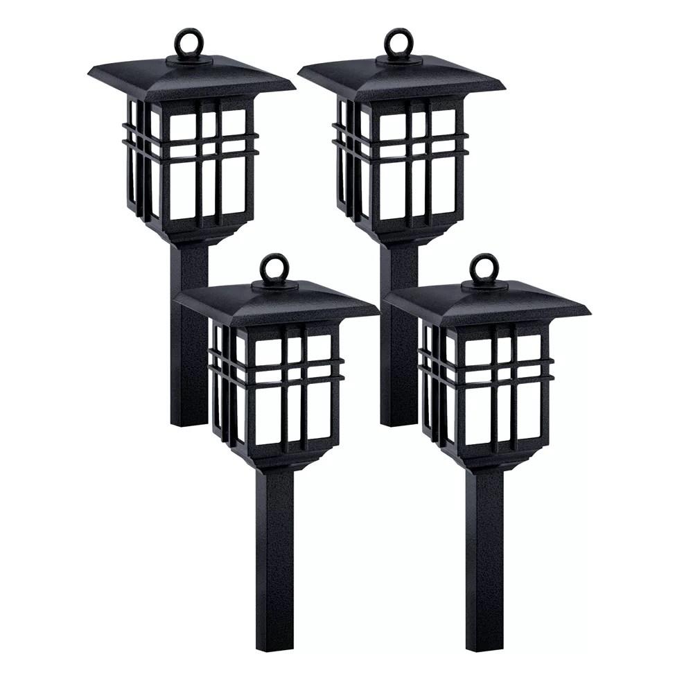 black low voltage led light set which includes 4 fixtures