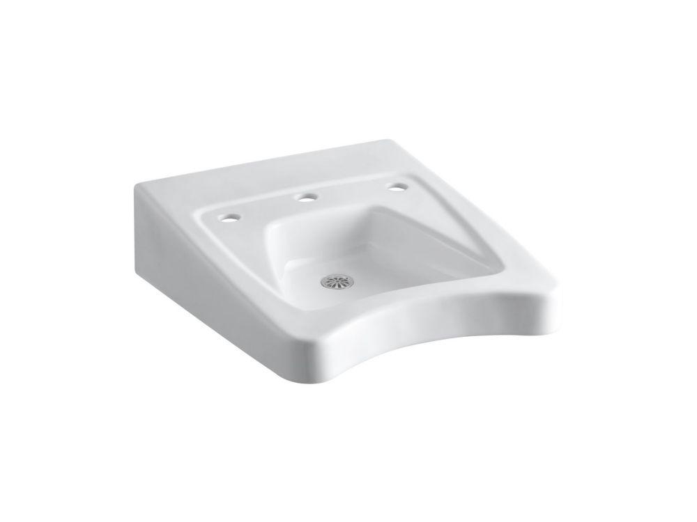 lavabo de salle de bain pour fauteuil roulant morningside au mur bras support dissimule 20 x 27 po avec trous pour robinets a entraxe de 11 1 2 po
