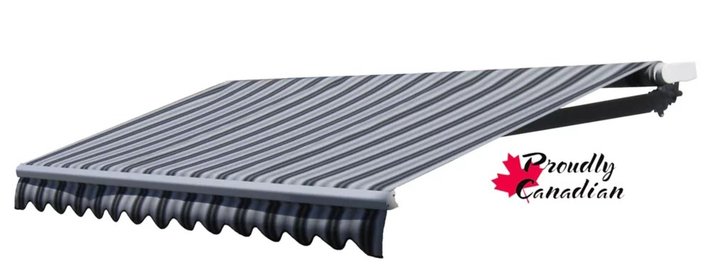 12 ft manual retractable patio awning 10 ft projection in black grey stripes