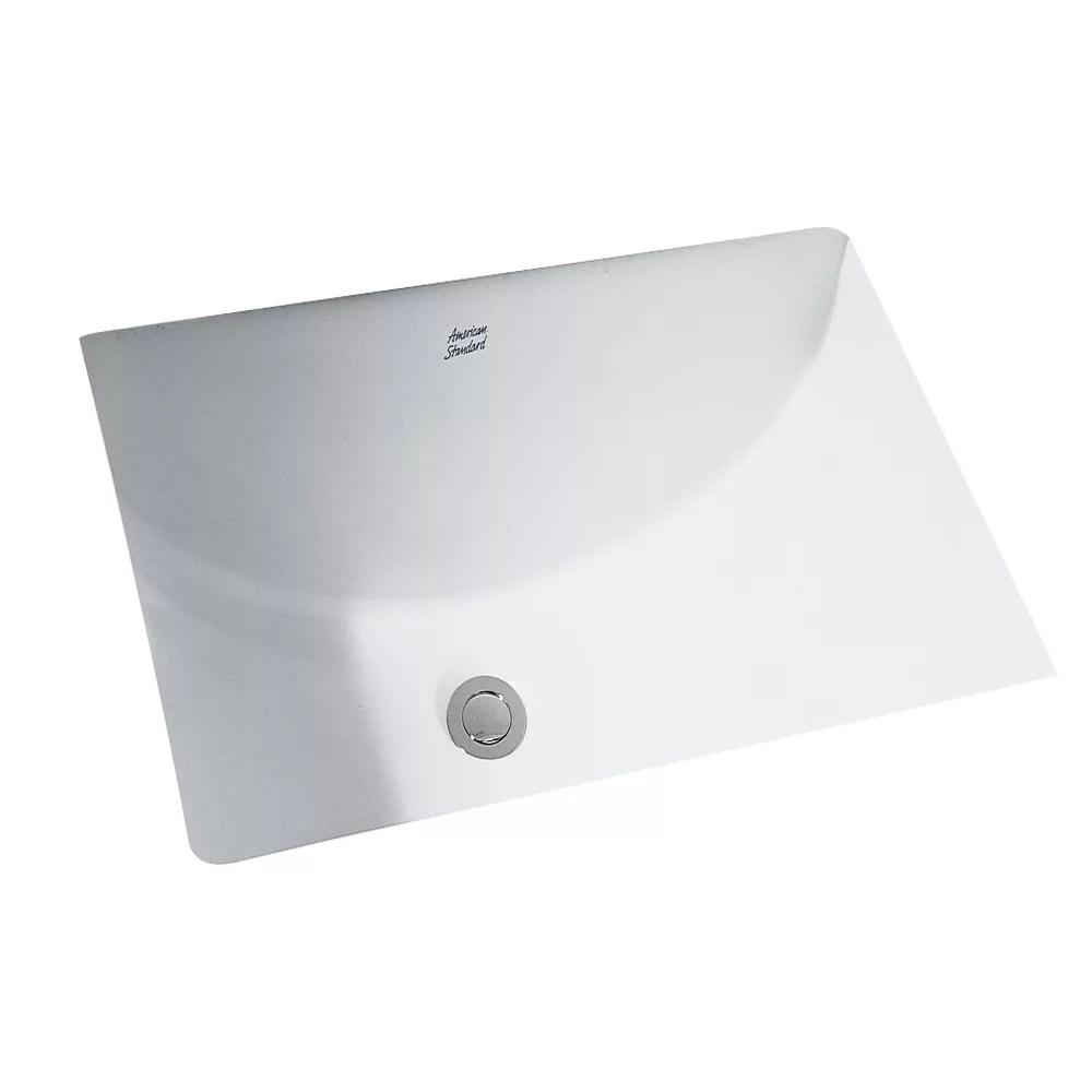 studio rectangular undermount bathroom sink in white