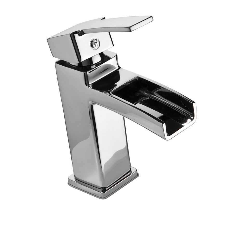 kamato single hole 1 handle high arc waterfall flow bathroom faucet in chrome with lever handle