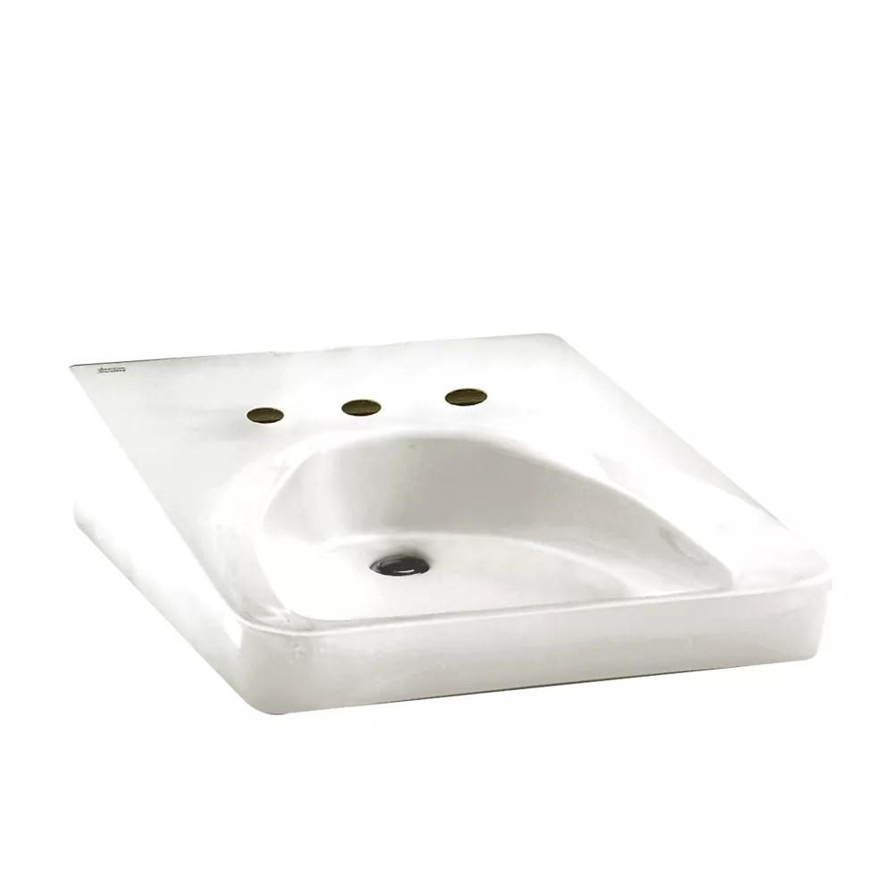 lavabo de salle de bain mural pour usagers en fauteuil roulant avec trou au centre de 10 1 2 po blanc