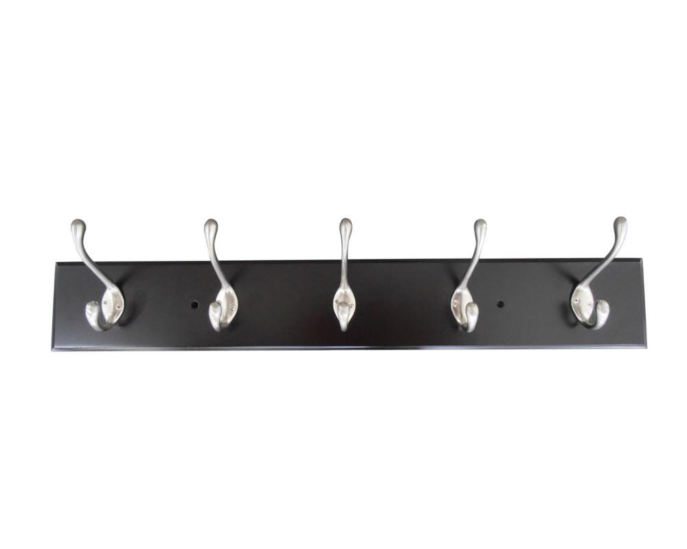 5 hook wall mounted wood coat rack in espresso