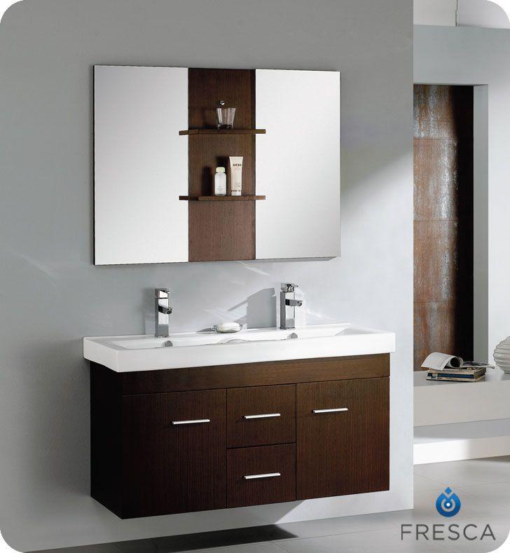 vilanie 48 inch wenge brown modern double sink bathroom vanity with mirror