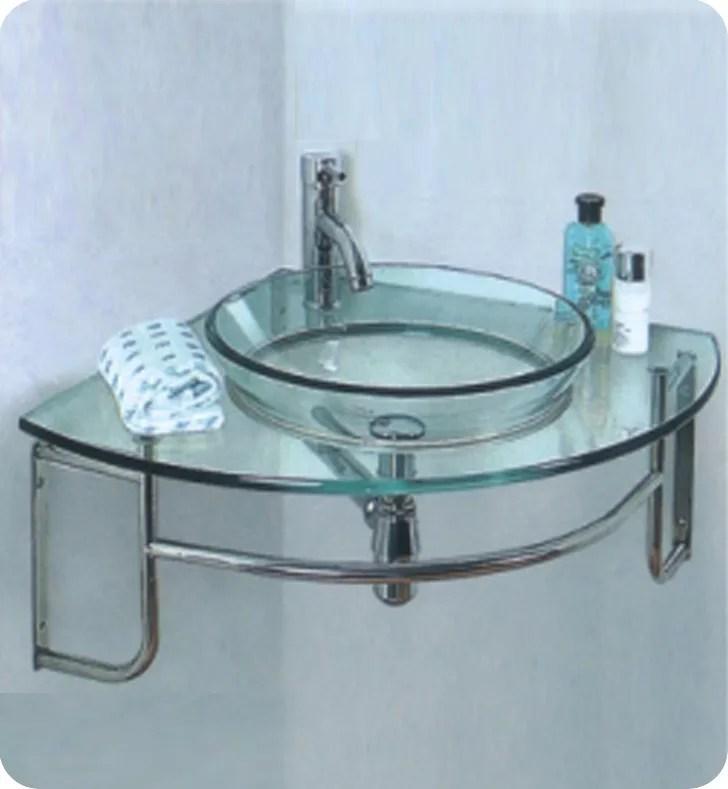 ordinato meuble lavabo de salle de bain en verre moderne pour montage en coin